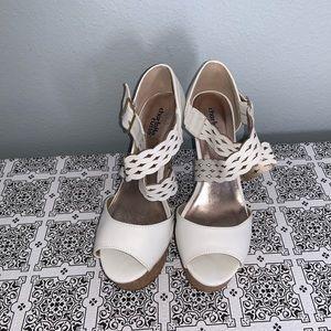Charlotte Russe White Platform Wedge Sandals